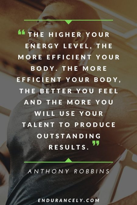 "Inspirational Quotes About Health - ""The higher your energy level, the more efficient your body. The more efficient your body, the better you feel and the more you will use your talent to produce outstanding results."" – Anthony Robbins 